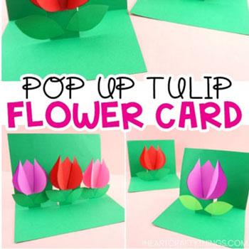 Egyszerű térbeli tulipános képeslap - kreatív virágos képeslap ötlet