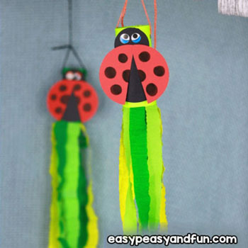 DIY Toilet paper roll ladybug windsock - fun spring craft for kids