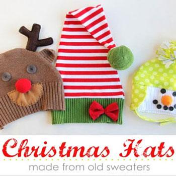 Karácsonyi sapkák kinőtt pulcsikból (hóember,rénszarvas és manó)