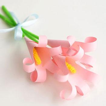 Papír virág csokor kézkörvonal liliomokkal - anyák napi ajándék