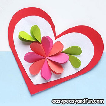 Térbeli papír virágos szívecskés képeslap papírból egyszerűen
