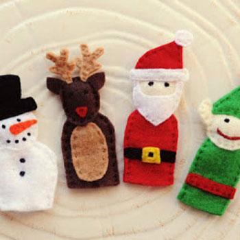 Ujjbábok filcből (Télapó, rénszarvas, manó, karácsonyfa, hóember)