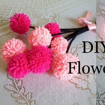 Pompon virág készítés egyszerűen - fonal virág csokor