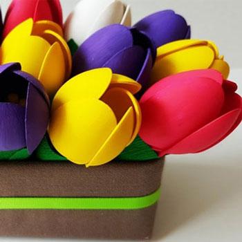 Szépséges színes tulipánok műanyag kanálból egyszerűen