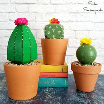 Örök kaktusz egyszerűen fa bútorlábból - kreatív újrahasznosítás