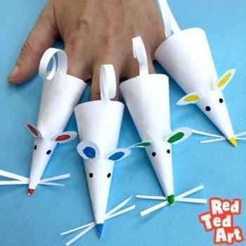 Papír egérke ujjbáb egyszerűen - kreatív ötlet gyerekeknek