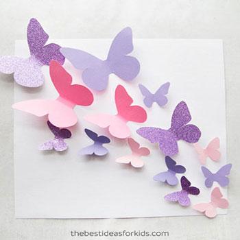 Gyönyörű térbeli faldekoráció papír pillangókból egyszerűen