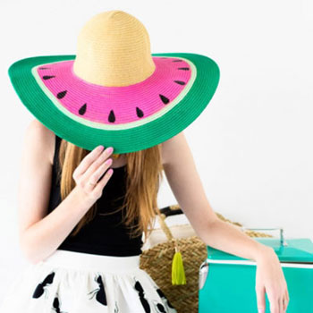 DIY painted watermelon summer hat