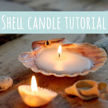 DIY Seashell candles - summer decor