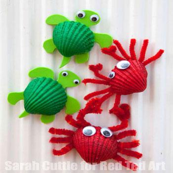 Kagyló rák és kagyló teknős - kreatív ötlet gyerekeknek nyárra