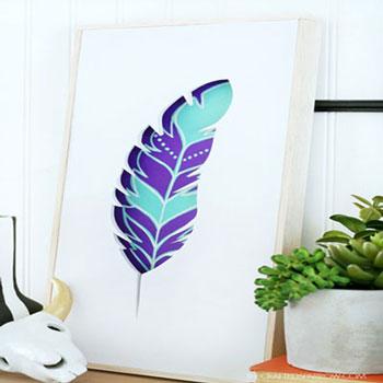 Gyönyörű térbeli tollas falikép egyszerűen - boho dekoráció papírból
