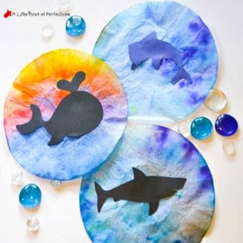 Tengeri állat sziluettek vízfestéssel - kreatív ötlet gyerekeknek