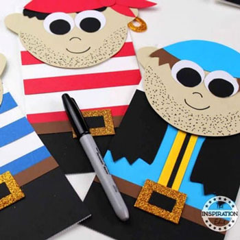DIY Paper bag pirate puppets - fun summer craft for kids