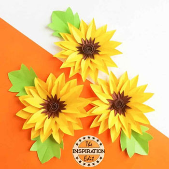 Gorgeous DIY paper sunflower - simple fun paper flower craft