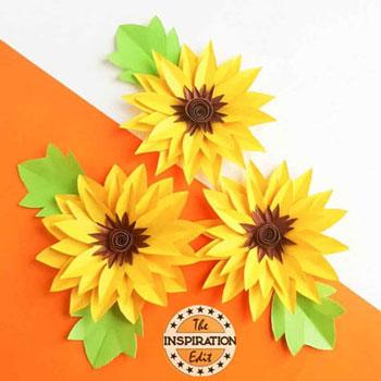 Szépséges papír napraforgók egyszerűen - sablonnal (papír virág)