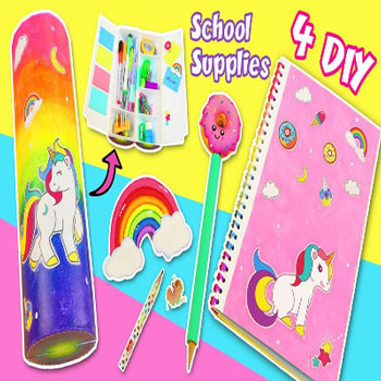 Unikornisos iskolaszerek fillérekből (Pringles doboz tolltartó, füzet és írószerek)
