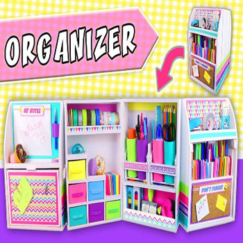 DIY Expandable desktop organizer from cardboard (back to school craft)