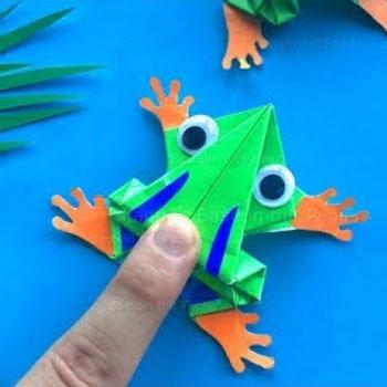 Ugráló origami béka - kreatív játék papírból egyszerűen