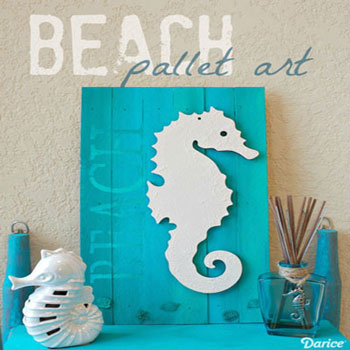 DIY Beach inspired pallet art with a seahorse - summer decor
