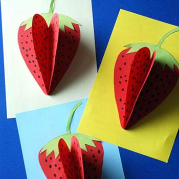 Térbeli epres képeslap egyszerűen papírból - kreatív ötlet gyerekeknek