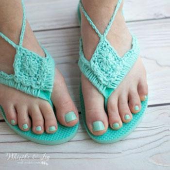 Flip-flop papucs új ruhában - horgolt papucs (ingyenes horgolásminta)
