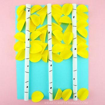 Hulló faleveles nyárfák - papír kép (őszi ötlet gyerekeknek)