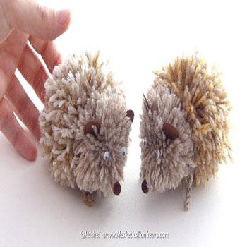 Egyszerű fonal pompon süni - őszi ötlet gyerekeknek fonalból