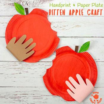Papírtányér alma - kreatív ötlet gyerekeknek őszre