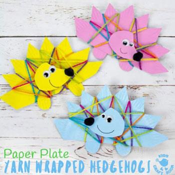 Fonallal körbetekert papírtányér süni - kreatív ötlet gyerekeknek őszre