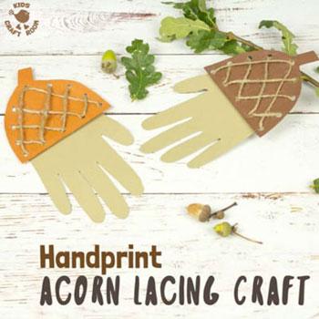 Kézkörvonal makk fűzőkártya - kreatív őszi ötlet gyerekeknek