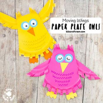 Mozgatható szárnyú papírtányér bagoly - őszi ötlet gyerekeknek