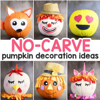 16 Fun no-carve pumpkin decorating ideas ( fall & Halloween decor ideas )