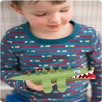 Wc papír guriga krokodil - kreatív ötlet gyerekeknek wc papír gurigából