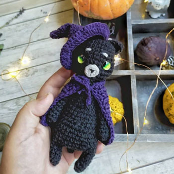 Adorable amigurumi witch cat (free amigurumi pattern)