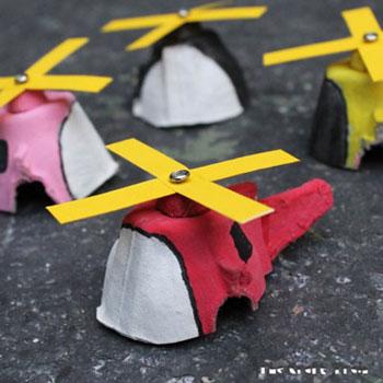 Tojástartó helikopter - kreatív ötlet gyerekeknek tojástartóból