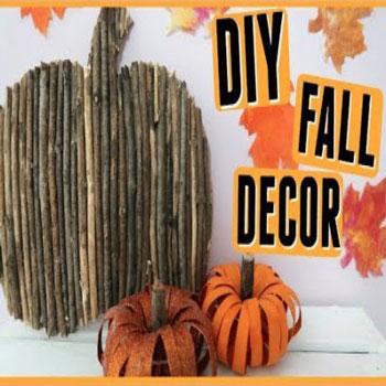 3 Egyszerűen nagyszerű őszi dekoráció (faág tök, wc papír guriga tök, falevél)