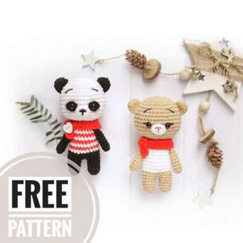 Mini amigurumi maci és panda kulcstartó (ingyenes amigurumi minták)