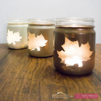 Faleveles őszi befőttesüveg lámpás házilag egyszerűen - őszi dekoráció
