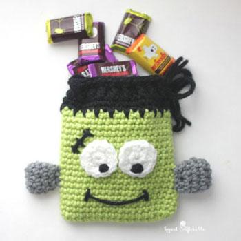 Frankenstein szörny cukorkazsák (ingyenes horgolásminta)