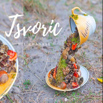 Lebegő őszi termés és virágkiöntő csésze - kreatív őszi dekoráció