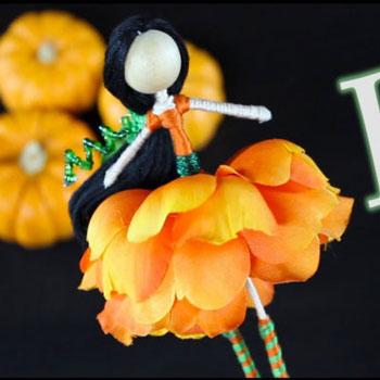 Tökvirág tündér (őszi virágtündér) - fonalbaba készítés lépésről-lépésre