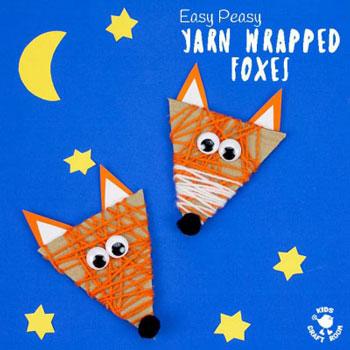 Fonallal körbetekert róka fejecskék - őszi ötlet gyerekeknek fonalból