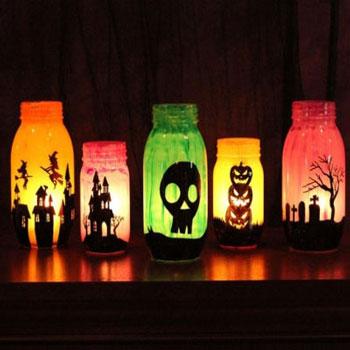 Szörnyen jó befőttesüveg lámpások - Halloween dekoráció fillérekből