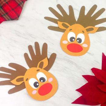 Kézkörvonal rénszarvas fej - kreatív karácsonyi ötlet gyerekeknek