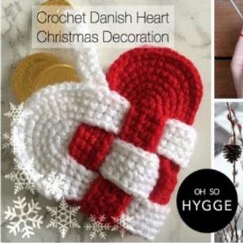 Horgolt dán szívecske karácsonyfadísz (Julehjerte) - ingyenes horgolásminta