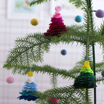 Kicsi filc karácsonyfa - karácsonyi dekoráció filc maradékokból