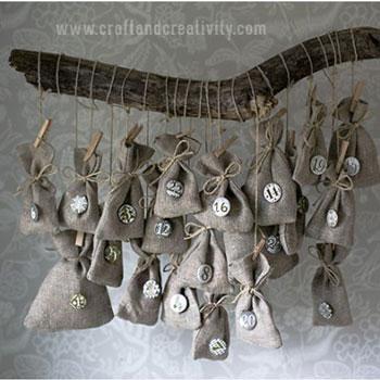 Mini zsákos adventi kalendárium faágon -adventi kalendárium készítése egyszerűen