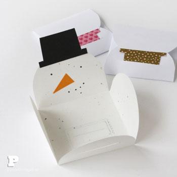 Egyszerű hóemberes ajándékkártya csomagolás (vagy karácsonyi képeslap)