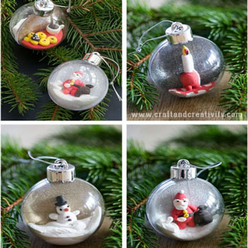 Karácsonyi mini dioráma átlátszó műanyag karácsonyfadísz gömbökből