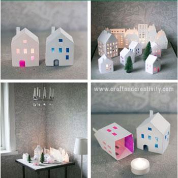 Téli falu papírból - papír házikó készítése házilag (ingyenes sablonnal)